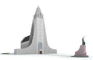 3ds max church iceland hallgrimskirkja