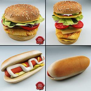 3d chicken sandwich hot dog model