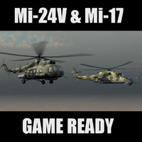 Mi17 Hip & Mi24 Hind Helicopters Game Ready