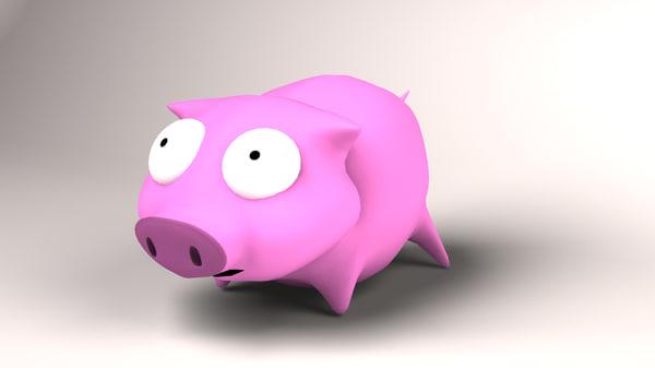 toy rubber piggy 3d lwo