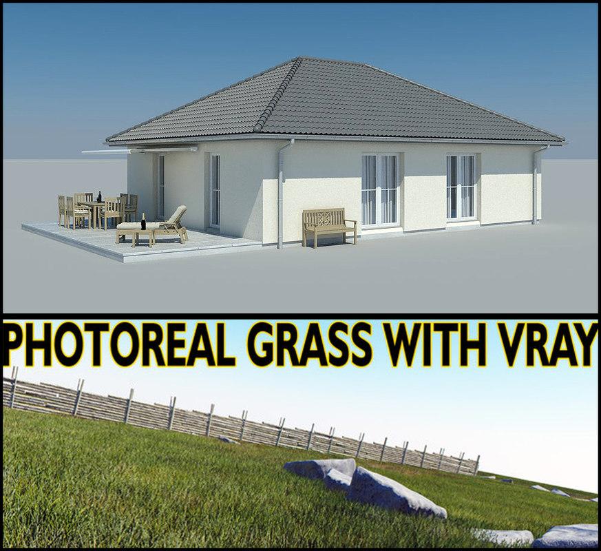 3d model photoreal bungalow grass