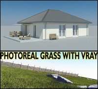 3d model photoreal bungalow grass