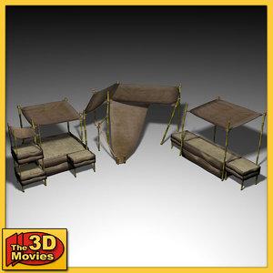 3d asian market stall model