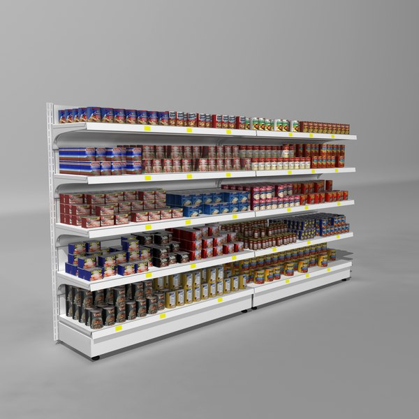 supermarket shelves canned meals 3d 3ds