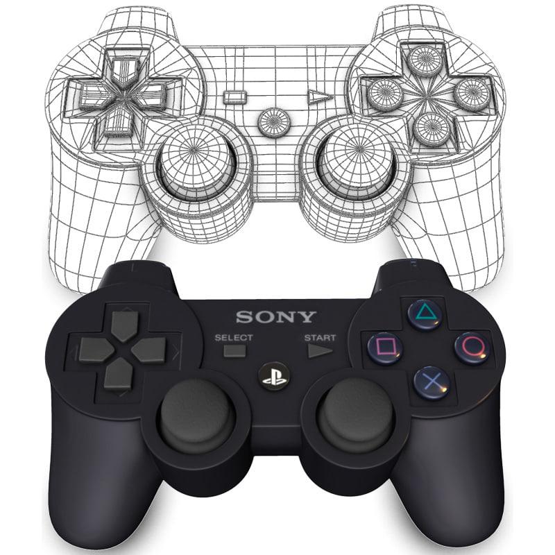 built ps3 controller 3d model