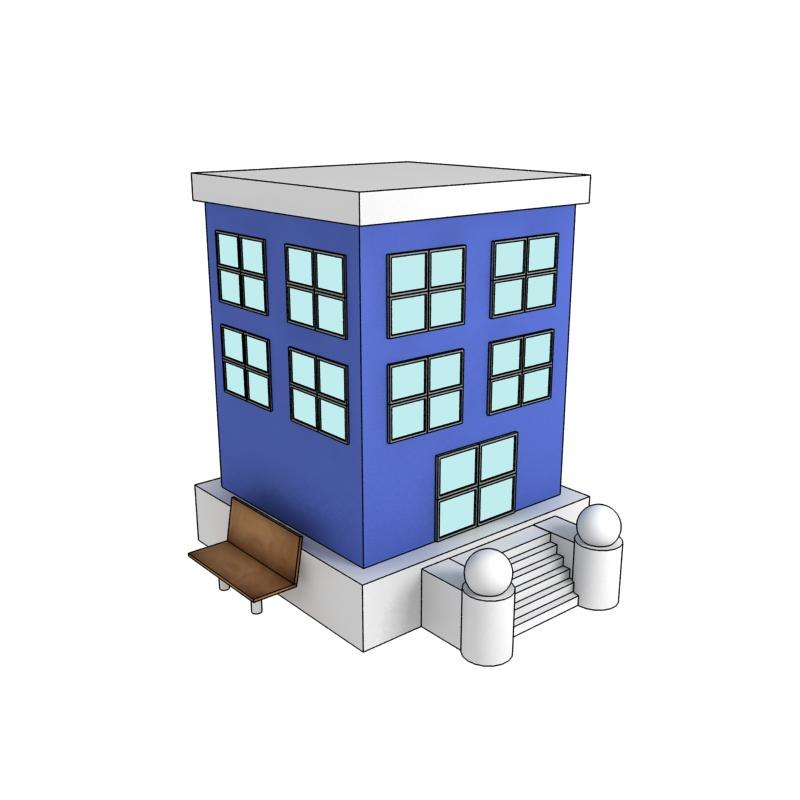 3d cartoon building model for 3d house builder online