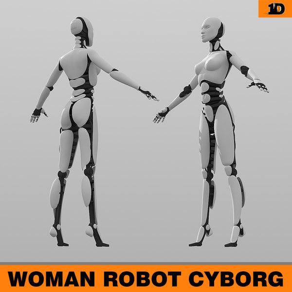 3d woman robot model