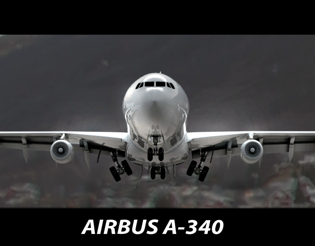 3ds airbus a-340 plane