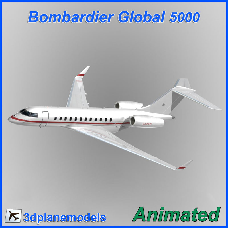 bombardier global 5000 3d model