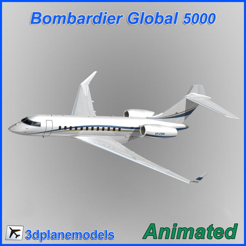 3d bombardier global 5000 model