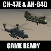 AH64D Apache & CH47E Helicopters Game Ready