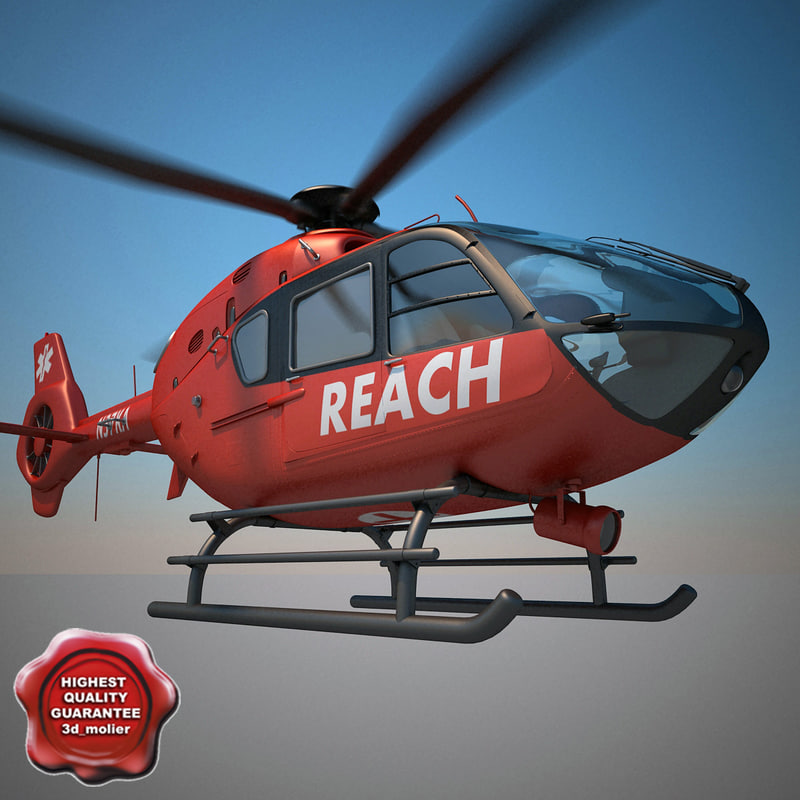 3d model of eurocopter ec-135 ambulance
