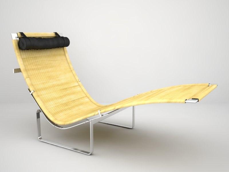 poul kjaerholm pk24 lounge chair 3d model