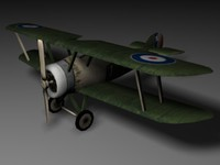 sopwith camel biplane fighter 3d model