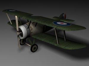 sopwith camel biplane fighter 3d model