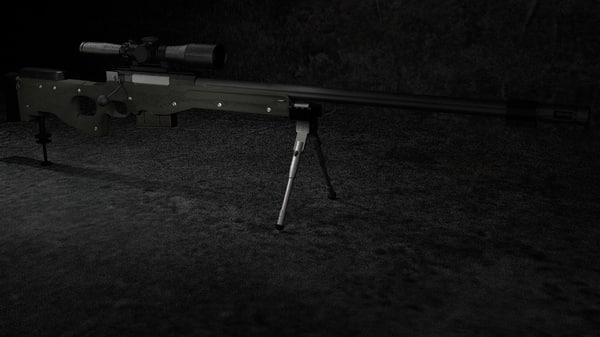 sniper rifle 3d obj