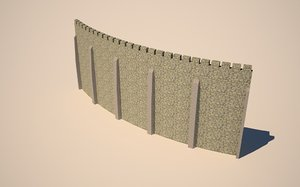 seamless curved castle walls 3ds