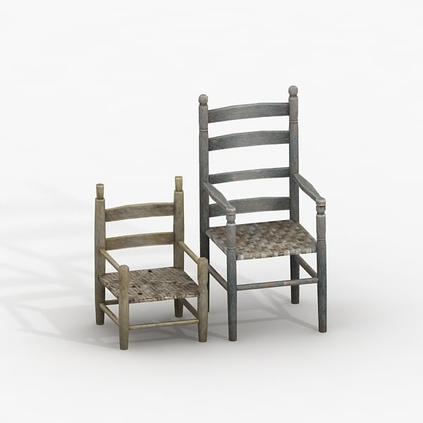 3ds max old wooden chairs