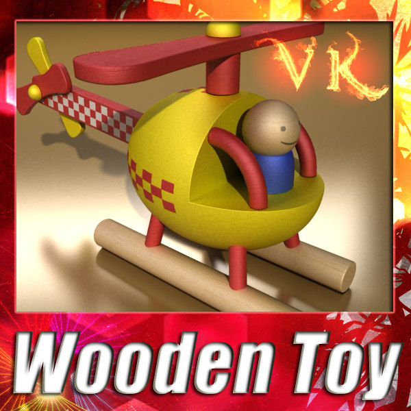 wooden toy - helicopter 3d obj