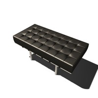 c4d contemporary leather bench