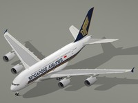 airbus a380-800 singapore airlines 3d dwg