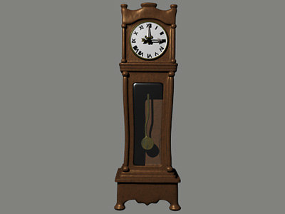 grandfather clock 3d blend
