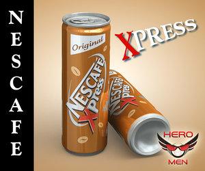 realistic nescafe xpress drink cans 3d model