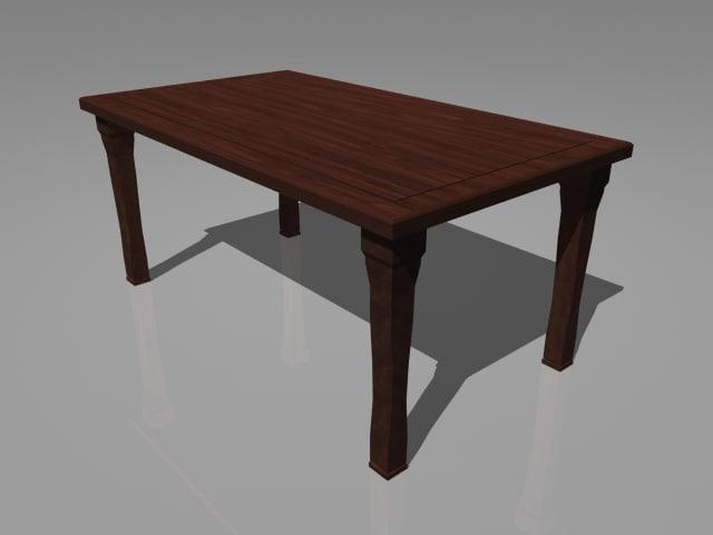 dark mahogany dining table 3d ma
