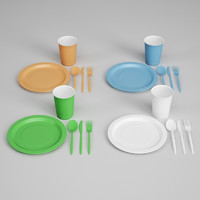 cgaxis plastic dishes utensils 3d c4d