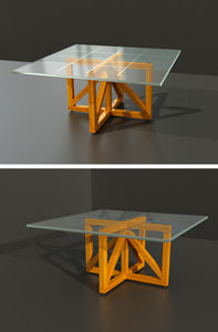 glass square table wood max