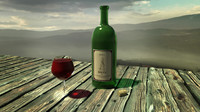 3d wine bottle set glas