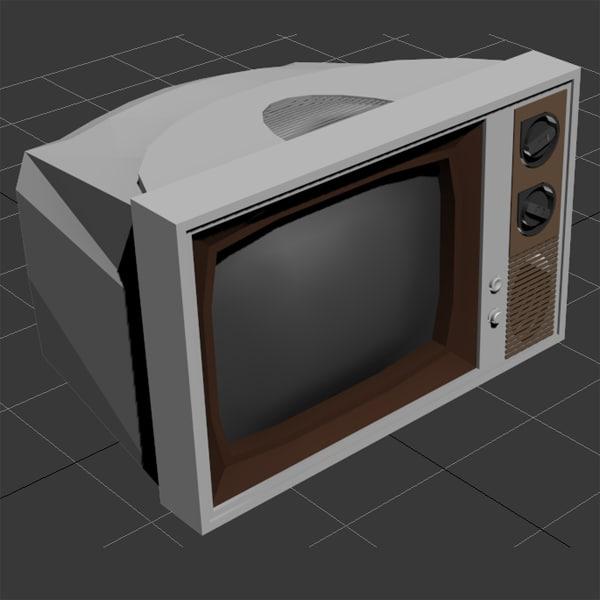 3d old fashioned television set model