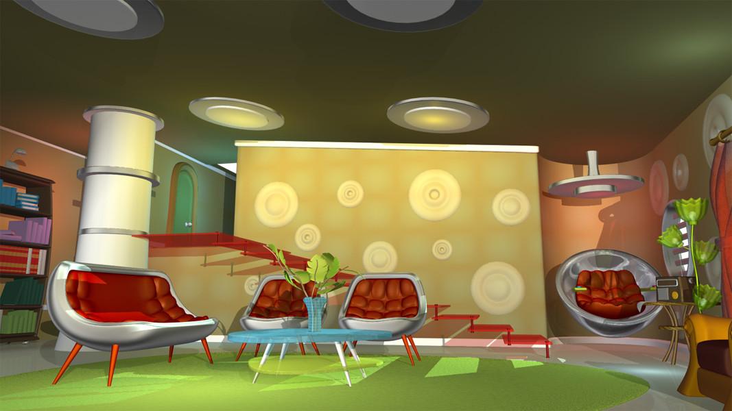 cartoon space room 3d obj