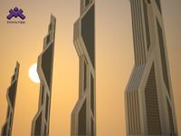 3d model futuristic sci-fi skyscraper