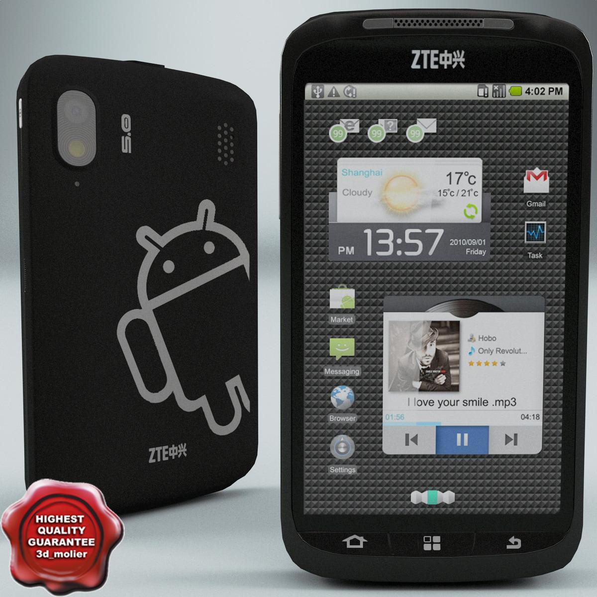 zte skate phone 3d model