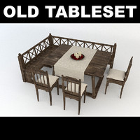 old wooden tableset table chair 3d max