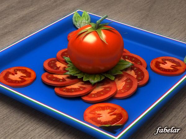 tomato sliced basil 3ds