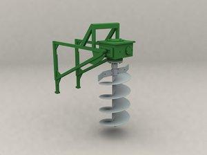 agricultural ground drilling 3d model