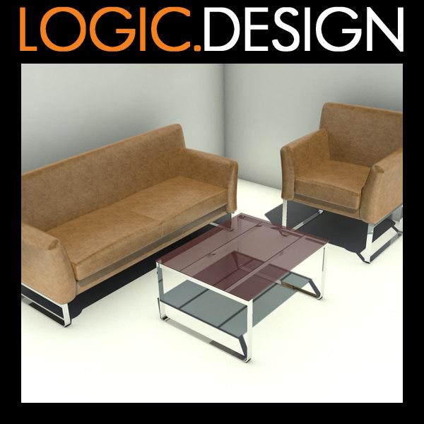 3d sofa armchair table model