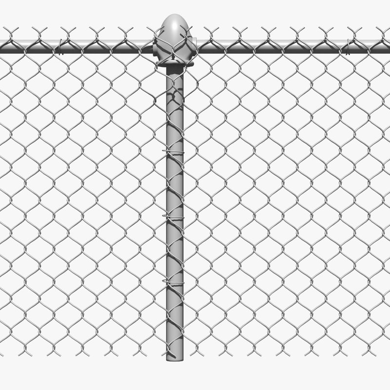 chain link fence metal 3d dxf