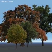 set trees 3d obj
