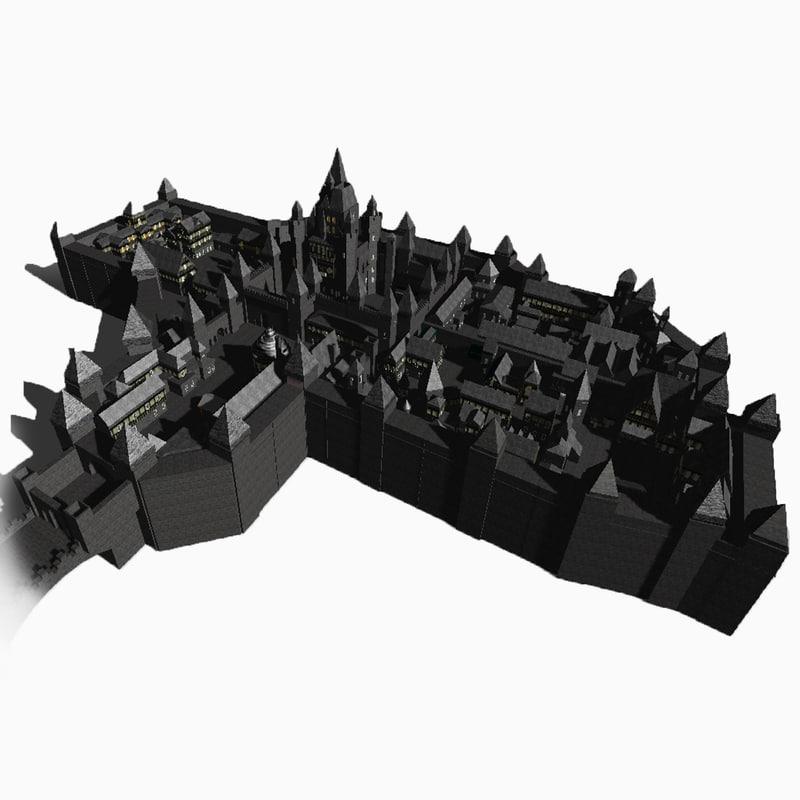 3d village castle model