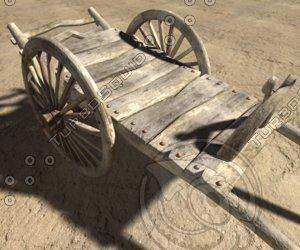 3d obj wooden cart