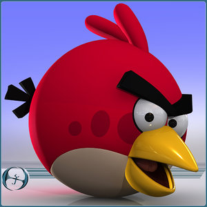 angry bird character cartoon 3d model