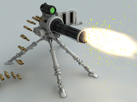 chaingun gatling machine cannon 3d c4d
