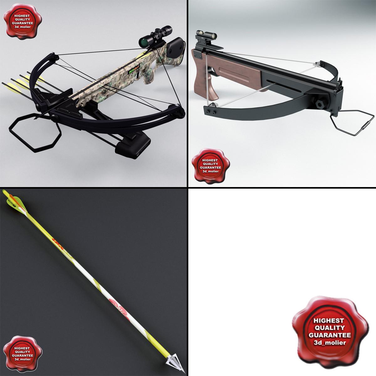 3d model crossbows set arrow