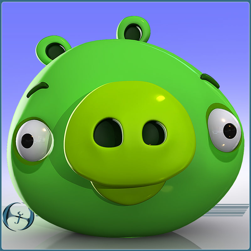 Cartoon Characters Green : Ds max angry pig character cartoon