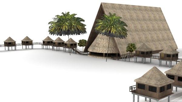 3d lwo tiki hut lodge palm trees