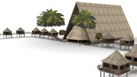 3d lwo tiki hut lodge palm trees