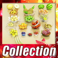 17 Fruits and 15 Basket and bowls collection + High Resolution Textures